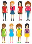 Faceless little girls without faces — Stock Vector