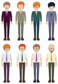 Eight faceless gentlemen — Stock Vector