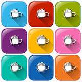 Colourful buttons with mugs of frozen coffee — Stock Vector