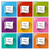 Colourful square buttons with certificates — Stock Vector