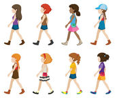 Teenagers without faces walking — Stock Vector