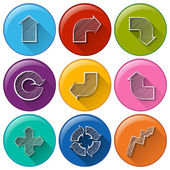 Circle buttons with different arrows — Stock Vector