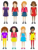 Faceless little girls — Stock Vector