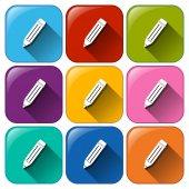 Botões com lápis — Vetor de Stock