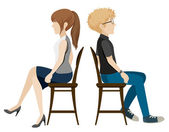 A boy and a girl sitting back to back — Stock Vector