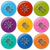 Circle buttons with a sunny weather — Stock Vector