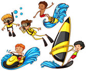 A group of people enjoying the watersport activities — Stock Vector