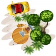 A topview of a table with a man, a tree and a vehicle — Stock Vector #60572357