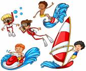 A group of people doing watersports — Stock Vector