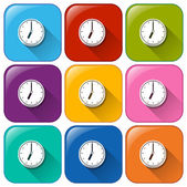 Colourful buttons with clocks — Stock Vector