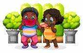 Two black kids eating — Wektor stockowy