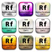 Buttons showing Rutherfordium and its abbreviation — Stock Vector