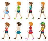 Faceless teenagers walking — Stock Vector