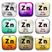 A periodic table showing Zinc — Stock Vector