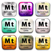 A periodic table showing Meitnerium — Stock Vector