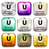 A periodic table showing Uranium — Stock Vector