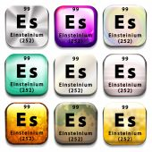 A periodic table showing Einsteinium — Stock Vector