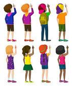 Huit enfants sans visage d'écriture — Vecteur