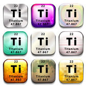 A periodic table button showing the Titanium — Stock Vector