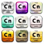 A periodic table button showing the Copernicium — Stock Vector