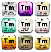 A periodic table button showing the Thulium — Stock Vector