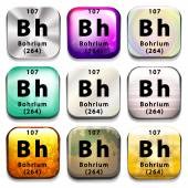 A periodic table button showing the Bohrium — Stock Vector