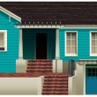 A blue residential house — Stock Vector #62575661