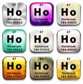 A periodic table button showing Holmium — Stock Vector