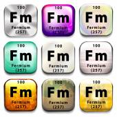 A periodic table button showing Fermium — Stock Vector