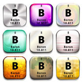 A periodic table button showing Boron — Stock Vector
