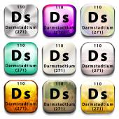 A periodic table button showing Darmstadtium — Stock Vector