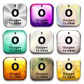 A periodic table button showing Oxygen — Stock Vector