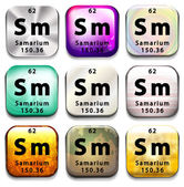 A periodic table button showing Samarium — Stock Vector