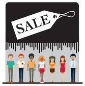 A sale tag with faceless people — Stock Vector