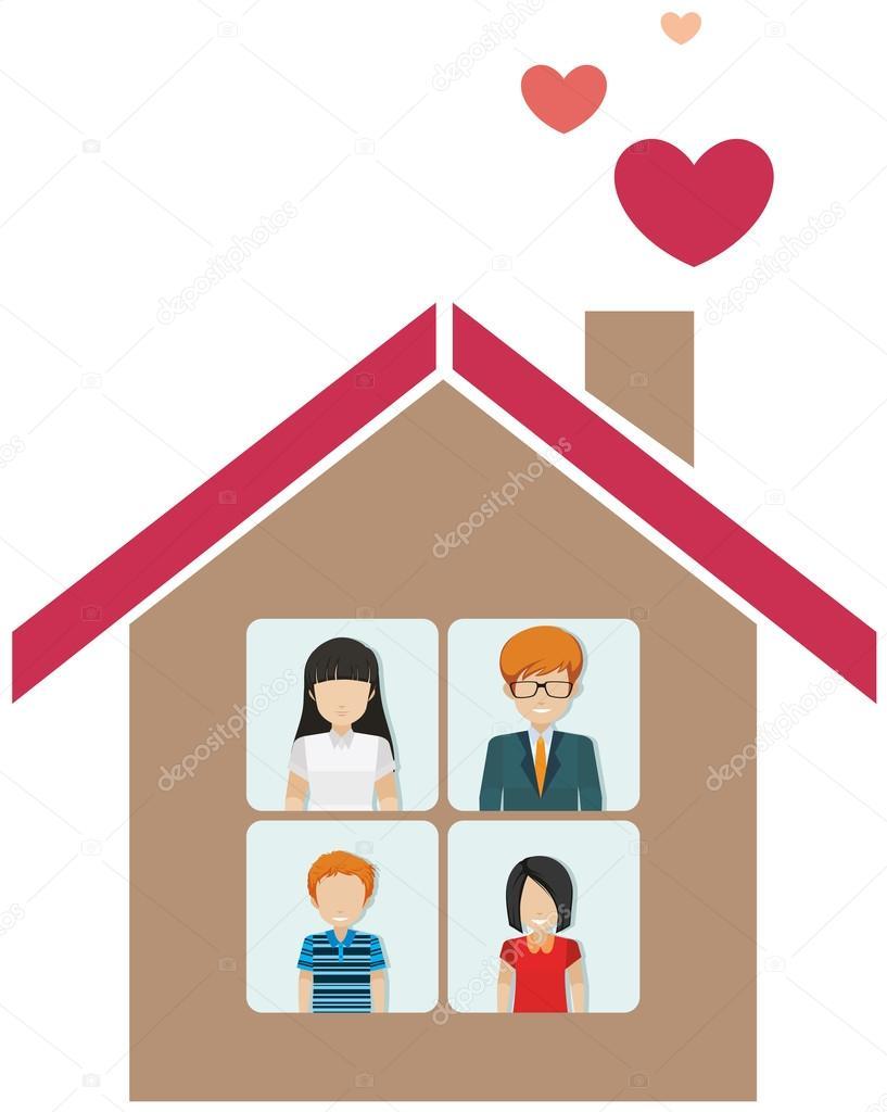 有一个家庭的房子 — 图库矢量图像08 bluering