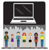 A laptop and a group of people — Stock Vector