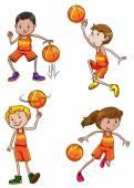 Young basketball players — Stok Vektör