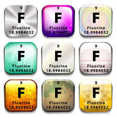 A button showing the element Fluorine — Stock Vector