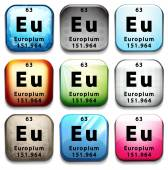 A button showing the element Europium — Stock Vector