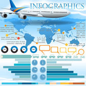 An infographics with an airplane — Stock Vector