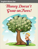 A boy under the money tree — Stock Vector