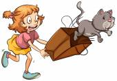 A young girl chasing the cat — Stock Vector