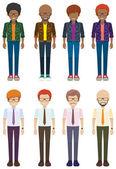 Eight faceless bachelors — Stock Vector