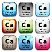 A button showing the chemical element Calcium — Stock Vector