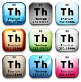 A button showing the chemical element Thorium — Stock Vector