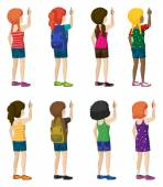 Faceless kids with fashionable attires — Stock Vector