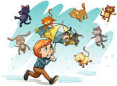 A rain with cats and dogs — Stock Vector