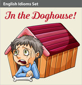 A boy in the doghouse — Stock Vector