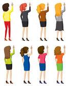 Eight ladies writing — Vettoriale Stock