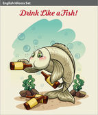 Drinking like a fish idiom — Stok Vektör